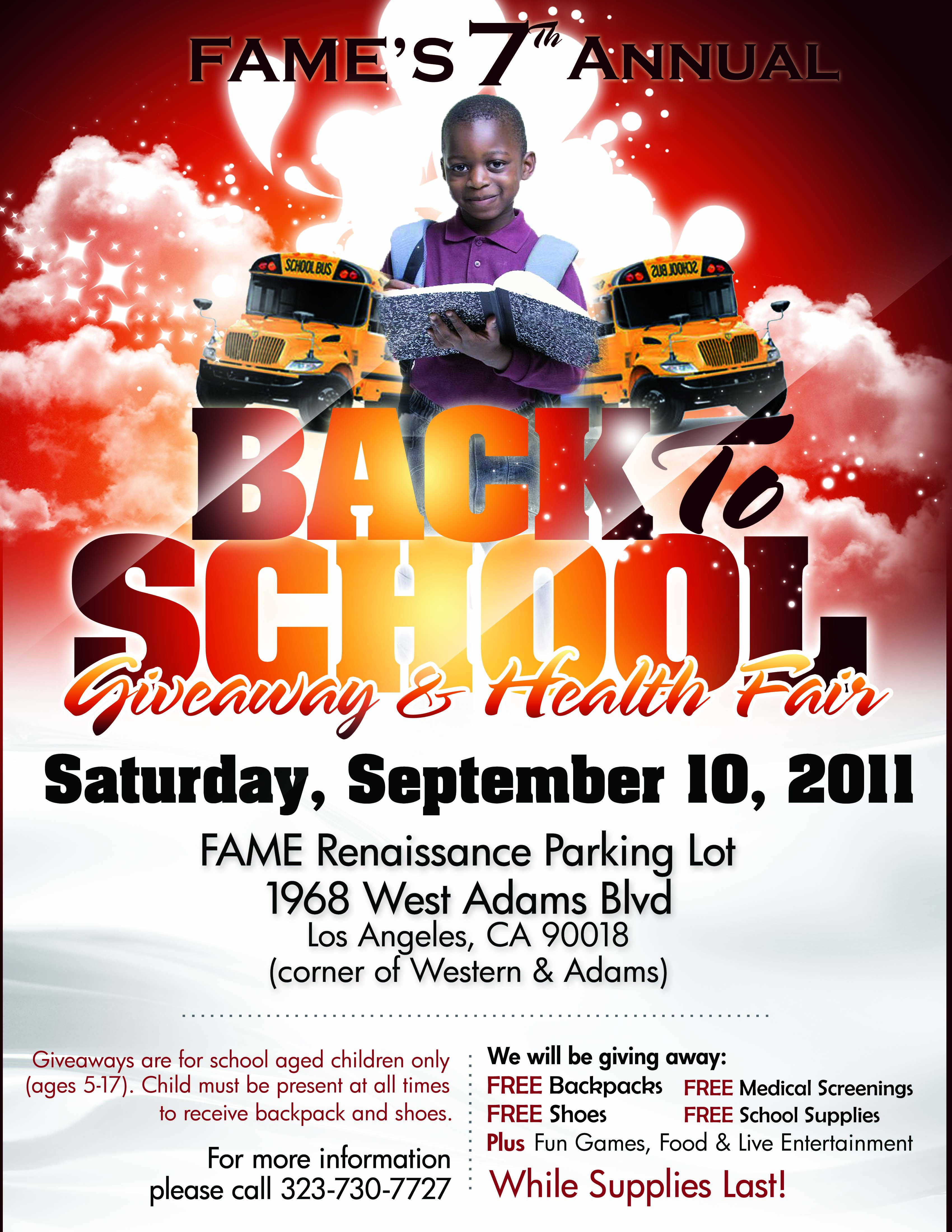 Back to School Giveaway and Health Fair Banner